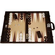 "Wycliffe Brothers 21"" Professional Tournament Backgammon Set, Brown Croco Board, Beige Field - Gen III Game"
