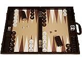Wycliffe Brothers Set di backgammon da torneo Pelle di coccodrillo marrone con campo beige - Gen III
