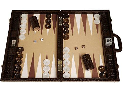 Wycliffe Brothers Backgammon-Turnierset - Braunes Kroko mit beigefarbener Spielfläche - Gen III