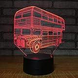 Double Decker Bus turístico Productos electrónicos Luces en 3D Regalo personalizado Luces de noche Luces automotrices Usb Usb Lámpara 3d