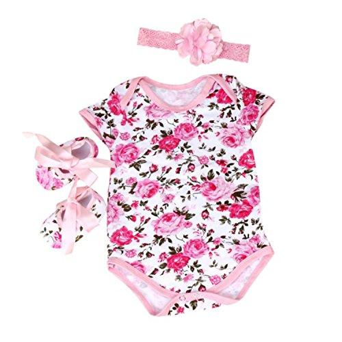 Culater® Neonata floreale pagliaccetto Tuta fascia scarpe i vestiti degli insiemi (Stampato Body)