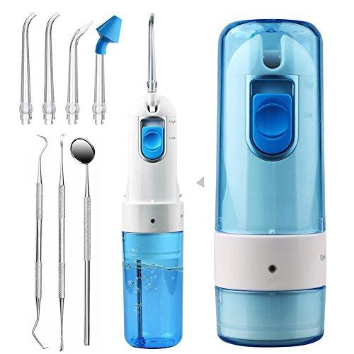 ACTOPP Elektrische Munddusche Reisemunddusche Oral Wasserreiniger 200ml 2 Wasserstrahlstärken aufladbar tragbar Zahnreiniger mit 5 austauschbar Düsen Zahnpflege und Zahnzwischenraum Reiningung
