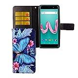 König Design Handy-Hülle geeignet für Wiko Lenny-5 | Blauer Schmetterling | Lenny-5-Schutz-Hülle | Klapphülle-Lenny-5 | mit Kartenfach