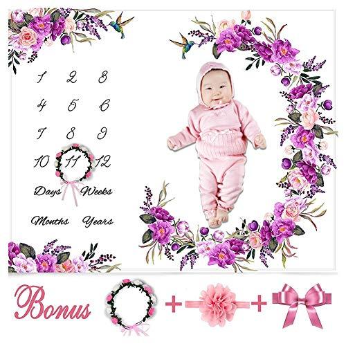 atliche Meilenstein Decke Mädchen Floral Plüsch Fleece Baby Fotografie Hintergrund Memory Decke für Neugeborene mit Bonus Kranz und Stirnband, Set ()