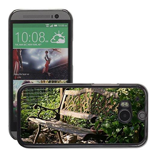 Hülle Case Schutzhülle Cover Premium Case // M00290833 Garten-Bank Bank Lehne Sitz Holz // HTC One M8
