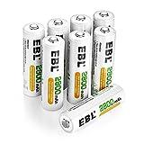 EBL wiederaufladbare Batterien 2800mAh AA Mignon Ni-MH Akku 8er Pack 1200 Ladezyklen geringe Selbstentladung