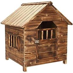 Caseta de perro Pet Casa Exterior sólido de madera de cedro con techo impermeable perro Home