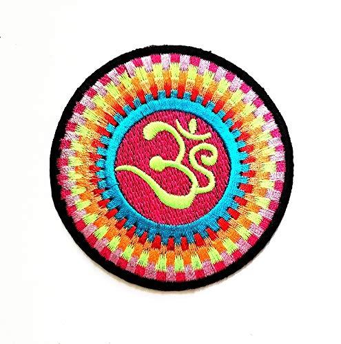 Pink Rainbow Aum Om Yoga Hindu Infinity Hindi Hinduismus Moon Sun Logo Hippie Retro Patch Weste Biker Motorrad Rider Biker Tattoo Jacke T-Shirt Aufnäher Aufbügler Bestickt Schild Abzeichen - Logo Bestickte Jeans Shirts