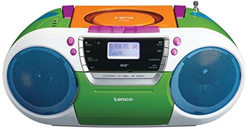 Lenco SCD-681 DAB Digitalradio mit CD-Player, Kassette und USB, Batteriebetrieb möglich (DAB, DAB+, UKW-Tuner, RDS, MP3-Wiedergabe, Kopfhöreranschluss, AUX, 4 Lautsprecher), bunt