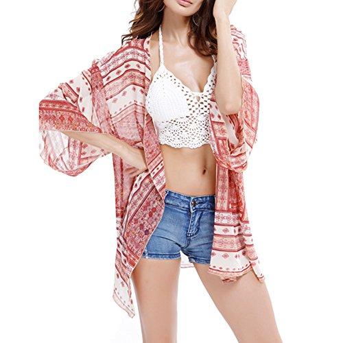 Damen Sommer Boho Chiffon Kimono Stil Gedruckt Tops Strand Bikini Pareos Cardigan Blusen Beachwear color2