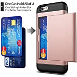 iPhone 6 / 6s Case with Card Holder and[ Screen Protector Tempered Glass x2Pack] SUPBEC i Phone 6/6s Wallet Case Cover with Shockproof Silicone TPU + Anti-Scratch Hard PC - Full Protective(Rose Gold)