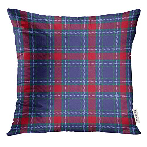 Throw Pillow Cover Blue Abstract Tartan Check Plaid Colorful Black Decorative Pillow Case Home Decor Square 18x18 Inches Pillowcase -