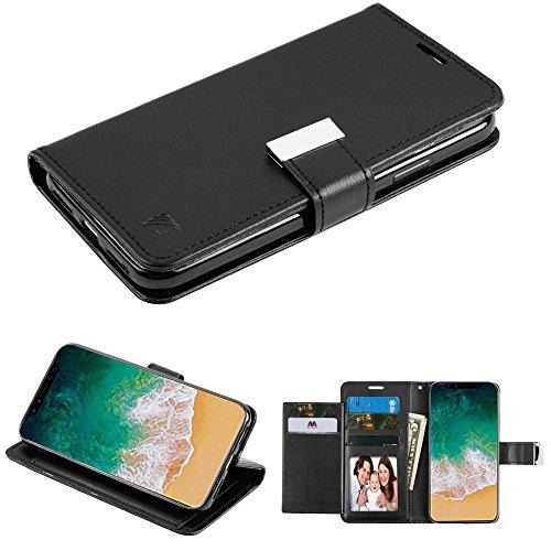 Fall + temperedglass Passt Apple iPhone X/10MYBAT 3-lagige Geldbörse/Kupplung mit Extra Kartenfächer PU Leder MyJacket Brieftasche, Schwarz/Schwarz -