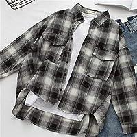 SeniorMar Retro Plaid T-Shirts Estilo de Muy Buen Gusto Coreano Camisas Casuales Sueltas Blusas y Blusas de Manga Larga con Cuello Redondo - Negro L
