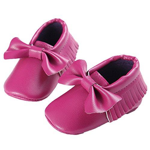 WAYLONGPLUS , Chaussures premiers pas pour bébé (fille) Rouge rouge foncé 13 (12-18 Months) Dark Purple