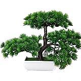 LWBAN -künstliche Bonsai Künstliche Bonsai-Baum Pflanzen Dekoration 2018 Kunstpflanze Grün Kunstblume Deko mit Weiß/Schwarz Töpfen, ca. 20 cm (1 Farben, hohe Qualität), green