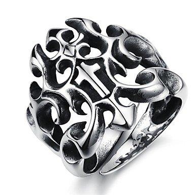 Retro reticolo creativo Hollow Forward Croce anello degli uomini dell'acciaio inossidabile (1 pc) , 10