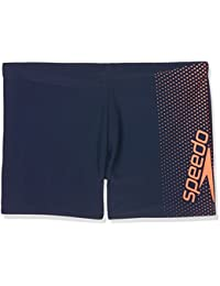 Speedo Mens' Gala Logo Aqua Shorts, Navy/Fluo Orange, 38/2XL