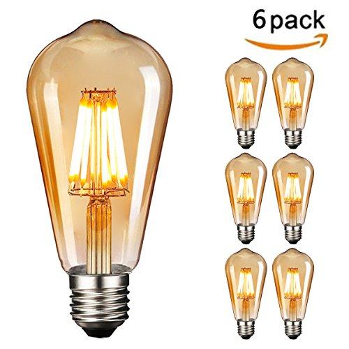 (Retro LED Edison Glühbirne E27, NUODIFAN 6 x 8W Vintage Glühbirne Dimmbar LED Filament Birne Lampe Amber Glas (800 Lumens, 2700K) Ideal für Dekorative Beleuchtung mit Antike Nostalgie Stil)