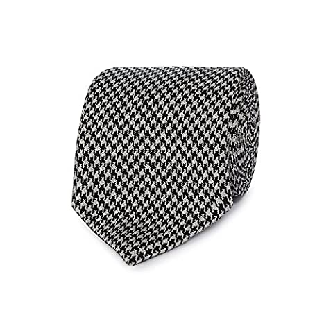 J By Jasper Conran Mens Black And White Dogtooth Fine Silk Tie