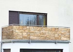 Wenko Pare-vue balcon mur de pierres