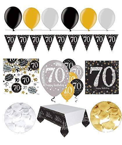 Feste Feiern Geburtstagsdeko 70. Geburtstag | 31 Teile Deko-Set Luftballon Wimpel Girlande Konfetti Serviette Tischdecke Gold Schwarz Silber metallic Party-Set