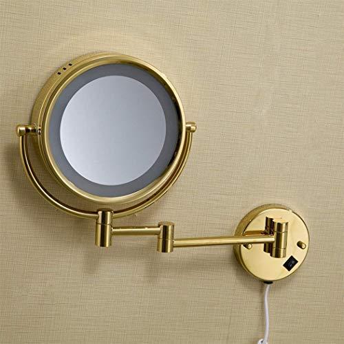 XP Gold überzogener Badezimmer-Spiegel-an der Wand befestigter kosmetischer Spiegel führte Lichter-Haushalts-runder silberner Badezimmer-Spiegel-Eitelkeits-Spiegel-kupferner Kontinentaler drehender r (Gold-eitelkeit-wand-spiegel)