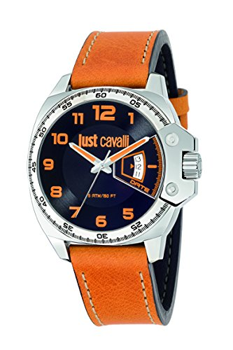 Just Cavalli Just Escape Men's Quartz Watch with Black Dial Analogue Display and Brown Leather Strap R7251213003
