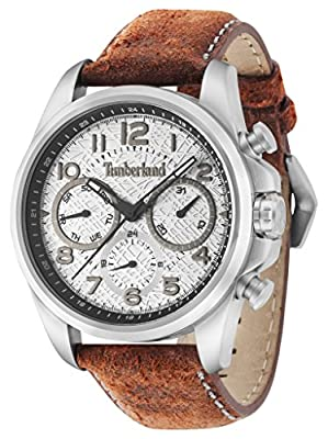 Timberland Smithfield Hombre Reloj de cuarzo con Esfera Analógica Gris y Naranja Correa de piel 14769js/13 de Timberland