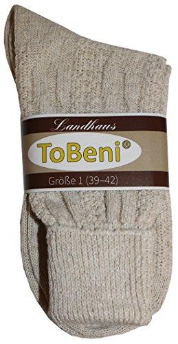 Tobeni 1 Paar Trachtensocken Socken kurz mit Umschlag und Zopfmuster Baumwolle-Leinen meliert für Damen und Herren Farbe Natur Meliert Grösse 39-42 - 6