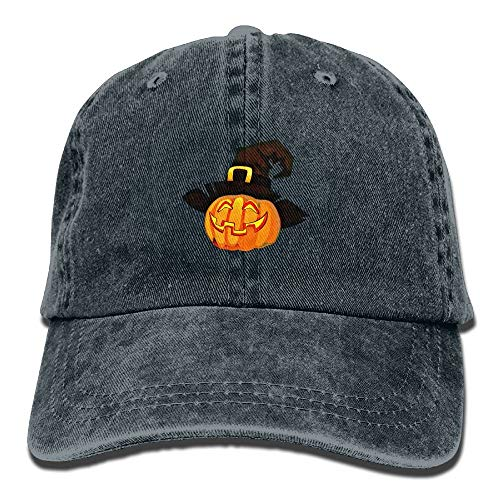 Graphic Halloween Scary Pumpkin Unisex Washed Adjustable Fashion Cowboy Hat Denim Baseball Caps