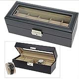 Uhrenbox für 5 Uhren Lederbox abschließbarer Schaukasten TOP 5174