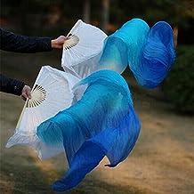 Chino de Madera de bambú colorido hecho a mano las mujeres calidad Real seda velos danza del vientre ventilador para espectáculos de gran escala rehearse entretenimiento Yanko danza, 3colores blanco/turquesa/azul 180* 90cm