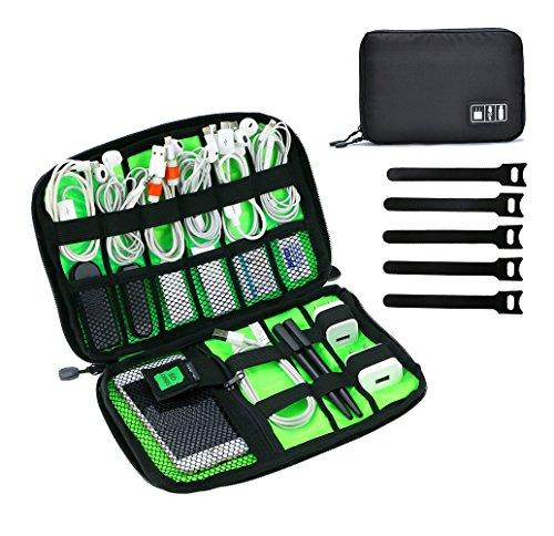 JamBer Reisetasche Elektronik organisator Tasche für Kabel, USB Sticks, speicherkarte, Schwarz