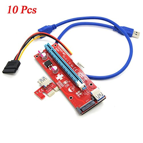 FNKDOR 10x USB 3.0 PCI-E Express 1x to 16x Extender Riser Board Card Adapter kits +Cable, (10 Set) (Nähmaschine Lego)