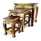 Asia Wohnstudio Hoher Opiumtisch im 3er Set | Massivholz Beistelltisch | Asiatische Blumenhocker | Couchtisch der Marke (Thailand) | Asiatische Möbel