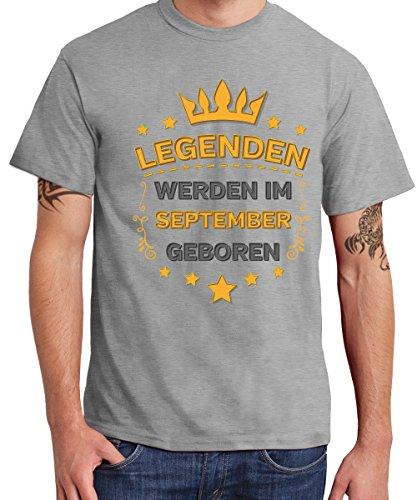 -- Legenden werden im September geboren -- Boys T-Shirt Sports Grey