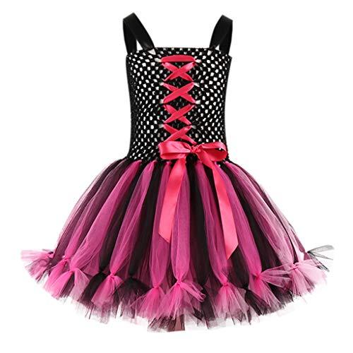 Realde Mädchen Kinder Kostüm Geburtstag Karneval Fasching Cosplay Kostüme Kleid Verkleidung Tutu Rock Langarm und Ärmellos Halloween Mini Kleid Kleidung Party Kleider (Red Tutu Kostüm Idee)