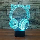 3D Illusion Lampe LED Nachtlicht, EASEHOME Optische 3D-Illusions-Lampen Tischlampe Nachtlichter 7 Farben Berührungsschalter Schreibtischlampe mit 150cm USB-Kabel Kinder Nachtlampe, Kopfhörer