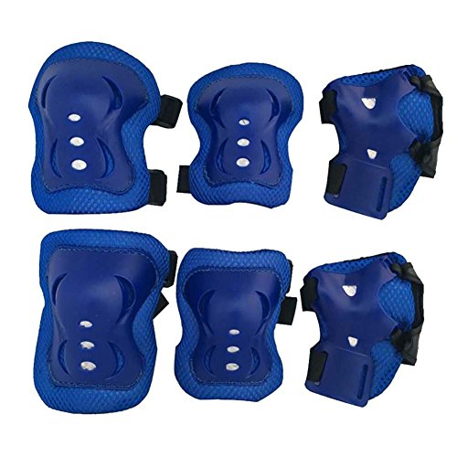 Kinder Protektorenset, Moresave 6 Stück Kind Junior Knieschoner Ellenbogenschützer Handgelenkschoner Schutzset für BMX Skateboard Roller Ski Bike Outdoor Sport Guard Pad Set(Blau) (Junior-handgelenk-guard)