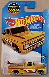 Hot wheels custom 62 chevy yellow truck with surf board 72/250