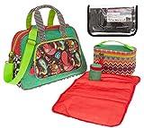 HAPPINESS Baby Wickeltasche Diaper Bag 5 Teile Tasche komplett + Extra Reisewickelset (Multi Red (Rot Grün)