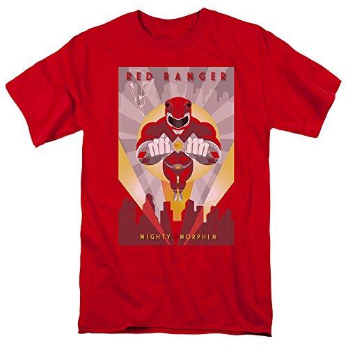 Power Rangers - Herren Red Deco T-Shirt, Large, Red (Ranger Power Tshirt Red)