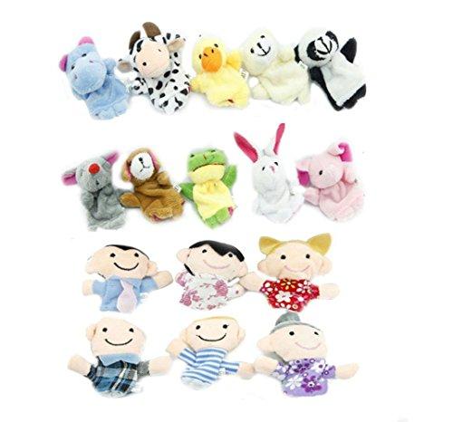 Frashing 16pcs Verschiedene Karikatur-Tier Fingerpuppen Weicher Samt Puppen Spielzeug Props