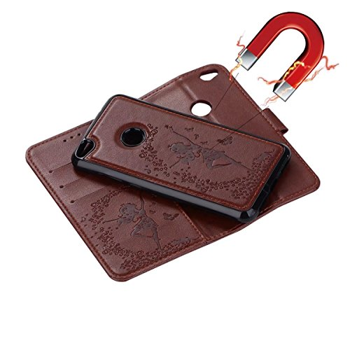 Abnehmbare 2 in 1 Crazy Horse Texture PU Ledertasche, Fairy Girl Embossed Pattern Flip Stand Case Tasche mit Lanyard & Card Cash Slots für Huawei P8 Lite 2017 ( Color : Rosegold ) Brown