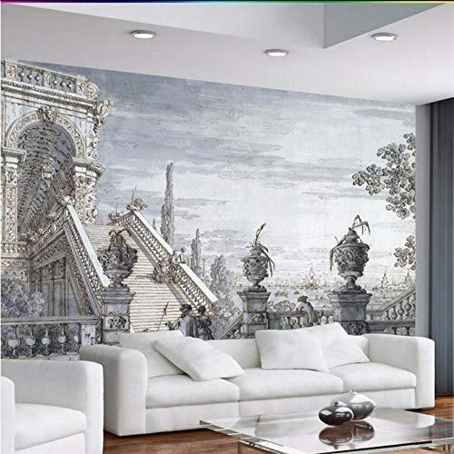 3D Wandbild Europäische Retro- Handgemalte Mittelalterliche Skizzenkirche Klassische Wandwand Kundenspezifische Große Wandtapete Tapete-450X300cm 8120 Stereo