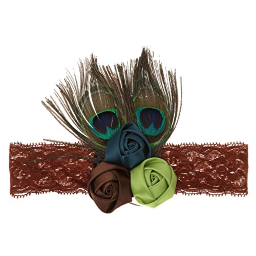 Kind Mädchen Pfau Feder Spitze Stirnband Haar Band Kostüm Party (Kind Kostüme Pfau)