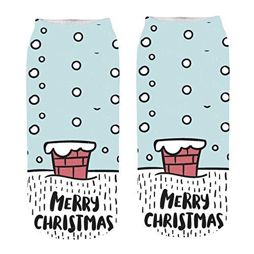 Zolimx Damensocken 3D Print Cartoon Weihnachtensocken Frauen Cute Christmas Erstaunliche Neuheit Söckchen Baumwolle Socken