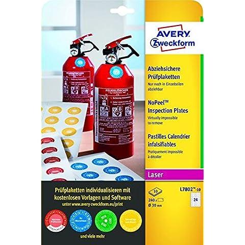 Avery España L7802-10 - Pack de 240 etiquetas adhesivos redondos de inspección, imprimibles, no
