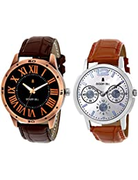 Golden Bell Original Combo Of 2 Black And Silver Dial Analog Wrist Watches For Men - GB-547